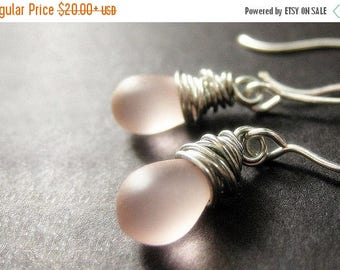 BACK to SCHOOL SALE Wire Wrapped Earrings - Frosted Sweet Pink Drop Earrings in Silver. Dangle Earrings. Handmade Jewelry.