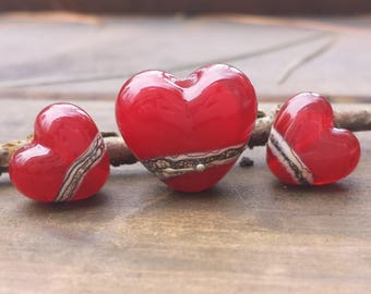 Lampwork Glass Beads - Trio of Red Hearts with a band of silvered ivory