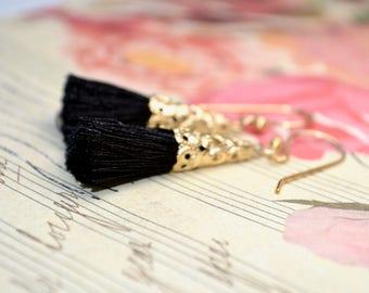 Black Tassel Earrings, Long Black Earrings, Tassel Drop Earrings, Black & Gold Earrings, Tassel Jewelry, Cotton Tassel Earring, Black Gifts