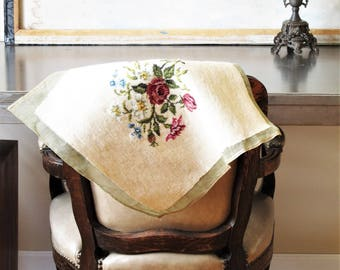 Vintage needlepoint tapestry, cottage decor, shabby chic tapestry, country decor