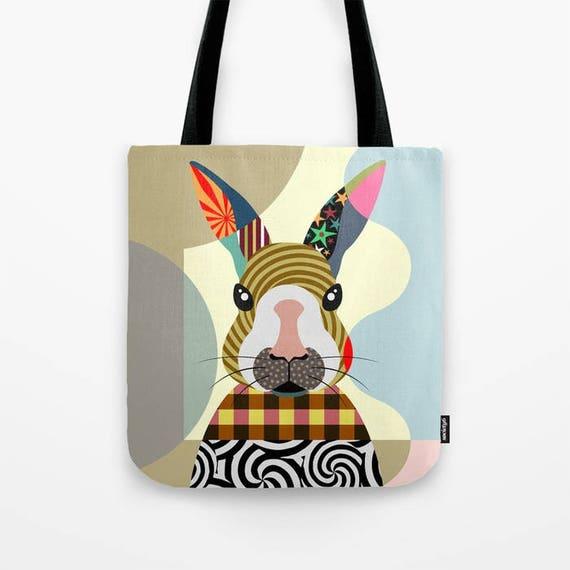 Bunny Tote Bag, Rabbit Tote Bag, Bunny Lovers Gift, Bunny Print, Rabbit Print, Bunny Gift, Rabbit Gift