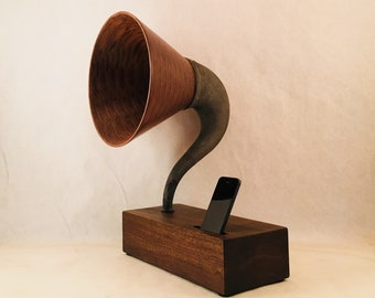Acoustic Speaker, iPhone Speaker, Wooden Speaker, Gramophone Speaker, Wireless Speaker, iPhone Amplifier, iPhone Stand, iPhone Dock, Speaker