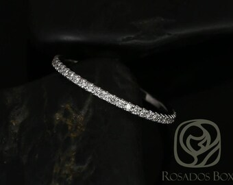 Kierra 14kt White Gold Thin French Pave Diamond Halfway Eternity Band (Other Metals and Stone Options Available)