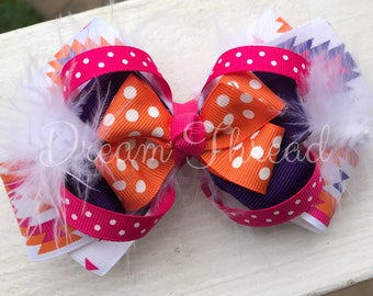 Aztec, Purple, Pink, Orange, White, Polka Dot Double Stacked Loop Boutique Double Stacked Hairbows, Baby Boutique Bows, HairBows