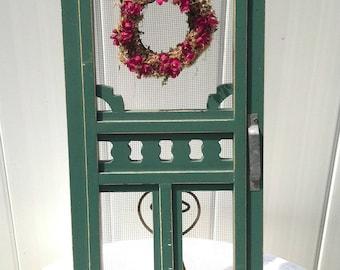 Vintage Green Wood Screen Door Wall Hanging / Door Hanging Front Door