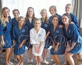 BRIDAL PARTY ROBES - Navy Cotton Waffle Robes - Bridesmaid Gifts - Bachelorette Robes - Spa Party - Bridal Robe - Cotton Robe - Kimono Robe
