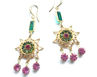 Fabulous Pink and Green Crystal and Brass Filigree Star Earrings with Vintage Swarovski Crystals