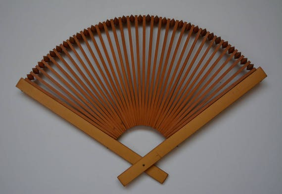 Japanese Fan Stand : Fan shaped display stand hand crafted japanese tray