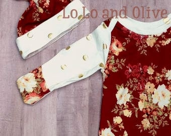 Autumn floral with gold dot baby gown and matching hat
