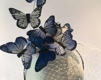 Butterfly Fascinator- Blue Fascinator- Butterfly Headdress- Butterfly hat- Derby fascinator -Kentucky Derby- Derby Hat- Mad Hatter Hat
