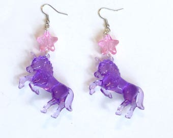 Purple Unicorn and Pastel Lilac Glitter Star Earrings