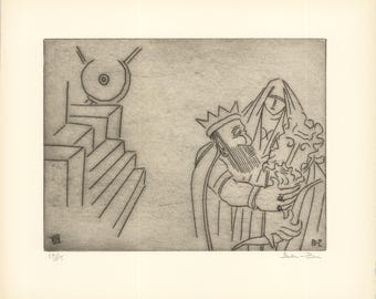 Ben-Zion-Gilgamesh Embraces Enkidu After Test of Strength (XIX)-1966 -SIGNED