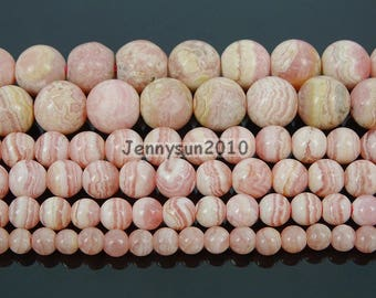 Natural Argentina Rhodochrosite Gemstone Round Beads 15.5'' 4mm 5mm 6mm 8mm for Jewelry Making Crafts