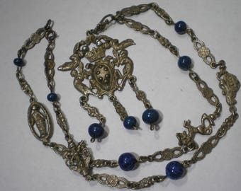 Vintage 800 Silver Peruzzi Style Ornate Chain Lapis Bead Necklace 24 Inches