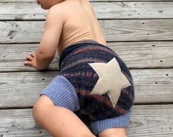 Cloth Diaper Cover, Wool Soaker, Shorties, Overnight Diaper Cover - Size Large - Star Applique