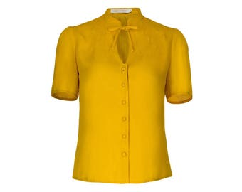 1940s Style Blouse- Yellow- Vintage Swing Retro Shirt- Mandarin collar- Short sleeves- Keyhole neckline.