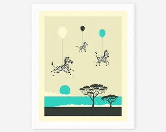 FLOCK OF ZEBRAS (Giclée Fine Art Print/Photo Print/Poster Print) by Jazzberry Blue