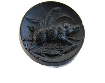 vintage black glass Victorian button with running boar or pig