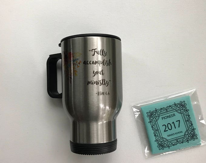 Featured listing image: Personalized Stainless Steel Travel Mug and Microfiber Gift Set -Pioneer School