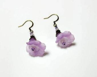 pale purple Swarovski pink crystal earrings lucite flower garden earrings beaded floral nature jewelry dangle drop lavender earrings