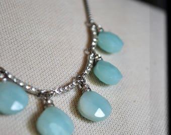 Amazonite Necklace, Amazonite Stones, Semi-precious Stones, Milky Green Beads, Faceted Stones, Teardrop Pendant, Monet Necklace,