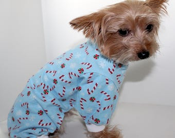 Christmas Dog Pajama Onesie, XS S M L - Pretty Light Blue - Candy Cane Holiday Dog Onesies Pajamas, Fashion Dog Clothing