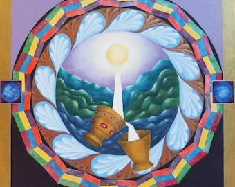 Mandala énergétique - Le Graal, à La Source de l'Energie - Création sur Commande personnalisée - Acrylique sur toile  - Création d'artiste