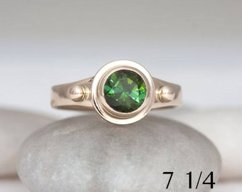 Green tourmaline and 14k yellow gold ring, size 7 1/4, gold, tourmaline and ruby ring, #291.