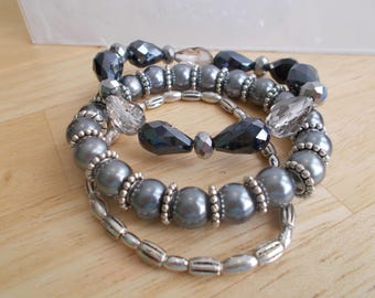 3 Stretch Bracelet with Silver Sea Shell Pearls, Black, White, Clear and Silver Crystals and Silver Beads