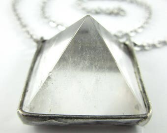 the sphynx - quartz crystal pyramid pendant