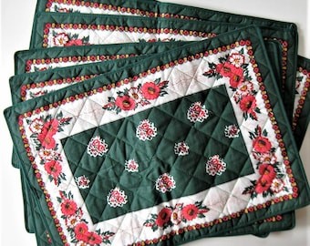 Set of 6 Souleiado quilted Placemats, Green and white floral, Charles Demery, Pierre Deux, Linens, French Country Decor, gift idea