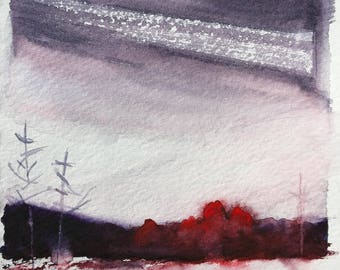 "Original minimalist mixed media painting, watercolor/acrylic art landscape red trees painting on 5.5"" x 8"" watercolor paper. rustic decor."