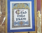 One Hundred Thousand Welcomes Irish Gaelic Counted Cross Stitch Kit UNOPENED