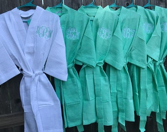 3 Monogrammed Robes - Bridesmaid Robes -Waffle Weave Robes -  Thigh length Robe - Bridal Robes - Bridesmaid Gifts - Personalized Robes
