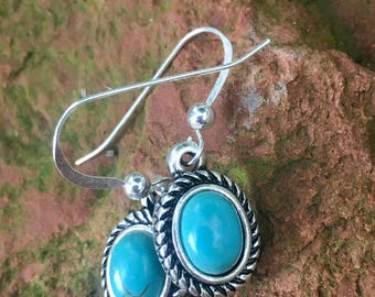 Beautiful gemstone and sterling silver earrings