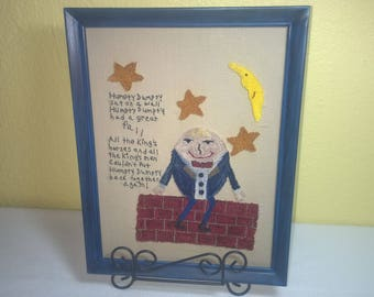 Humpty Dumpty Needle Punched Picture - Framed Picture - Embroidery - Needle Punch - Nursery Rhythm - Children's Art - Home Decor