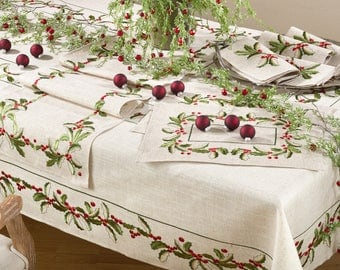 Christmas Placemat | Holly Placemat | Embroidered | Linens | Table | White Red | Monogram
