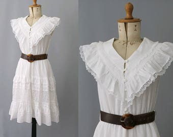 1980s  french ruffled cotton & lace white dress/  80s Paris summer dress