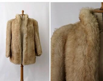 1950 french sheep fur jacket / 50s fur jacket/ vintage sheep jacket