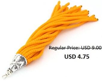 SALE*50% OFF - Sunglow Orange, Heishi Seed Bead Tassel with Shiny Silver Plated Cap, Beaded Boho Tassel, 1 pc- 90 mm // TAS-075
