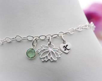 sterling silver Lotus Flower Bracelet. Personalized Bracelet, Custom Initial, Birthstone. Long lasting chain. Other charm upon request