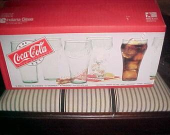 "8 x set Indiana Glass Coca-Cola "" Georgia Green "" Glass Drinking Cups NIB"