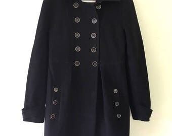 Authentic Wool Coat Winter Military Black Jacket Mondrian size S,M Made in Italy