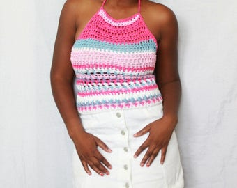 The Summer Lines Crochet Halter Top Pattern. Instant Download!