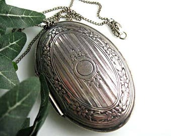 Vintage Silver Locket, Oval Chatelaine Mirror Compact, Photo Keepsake Pendant, Flower Leaf Design, Signet Engraving Space, Edwardian Revival