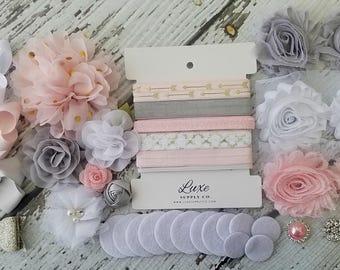 DIY Baby Shower Headband Kit - Shabby Chic Baby Headbands Light Pink, Grey, White - Elegant DIY Headband Kit Makes 12 headbands! - SHK1237