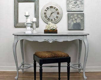 Vintage, Hand Painted, French Country Desk, Vintage Vanity, Entryway Table,