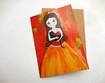 Illustrated art card, greeting card, thanks greeting card, handmade card, stationary, sarahdonnell