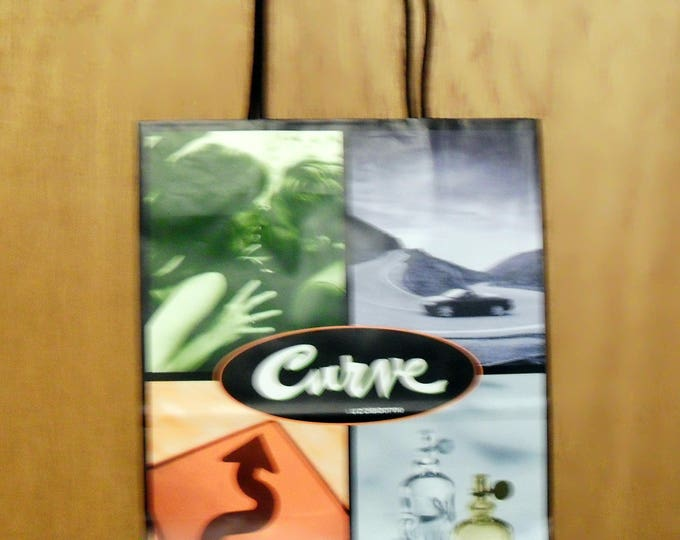Vintage 1990s Curve by Liz Claiborne Perfume Promotional Paper Shopping Bag Designer Fragrance Collectible