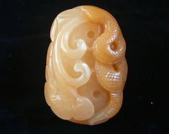 Unique Huanglong Jade Pendant Snake Ganoderma lucidum Amulet Carved Huanglong Jade Talisman